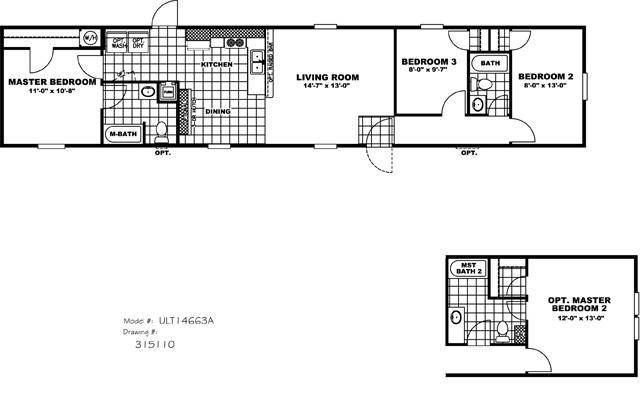 Cmh ultimate value ult14663a mobile home for sale for Ultimate floor plans