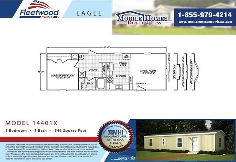 Fleetwood Eagle 14401X - 1 Bed 1 Bath Mobile Home For Sale on