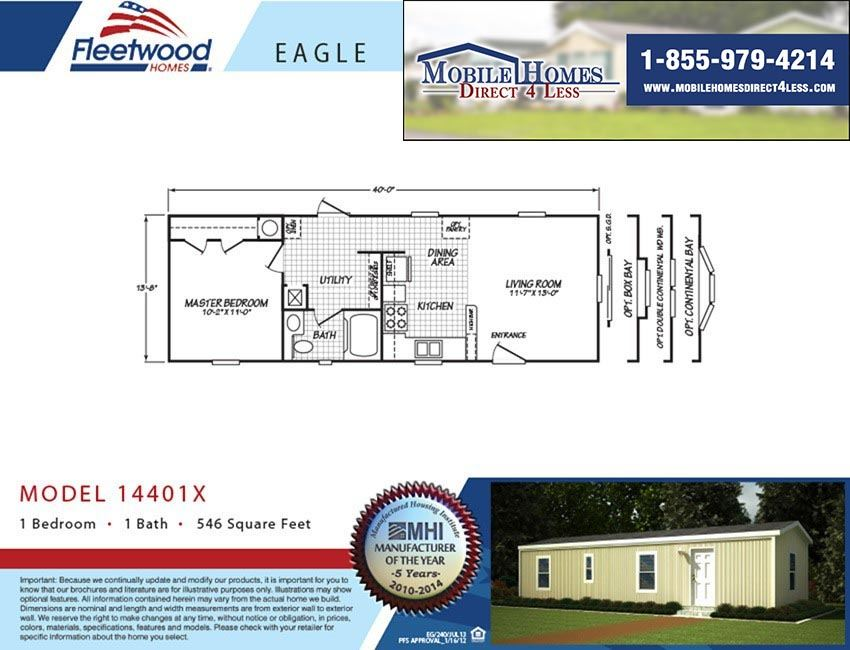 Fleetwood Eagle 14401X - 1 Bed 1 Bath Mobile Home For Sale
