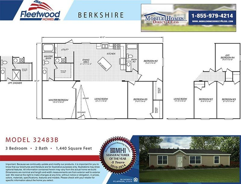 Fleetwood Berkshire 32483B - 3 Bed 2 Bath Mobile Home For Sale on