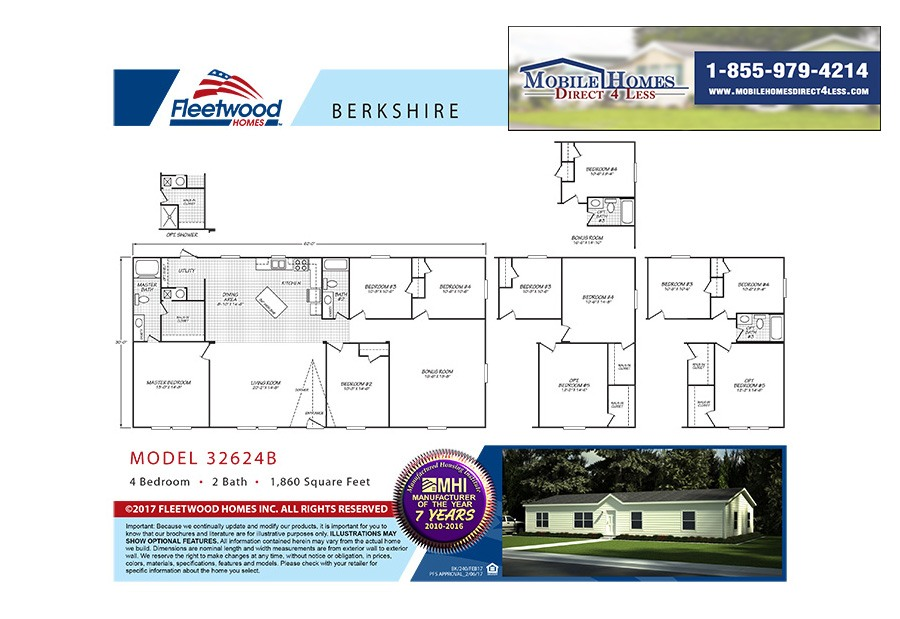 Fleetwood Berkshire 32624B Mobile Home Branded Floor Plan