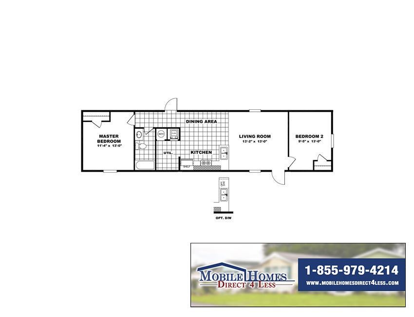 Printable Floor Plan. TruMH   Dempsey   Bliss 2 Bed 1 Bath Single Wide Mobile Home For Sale