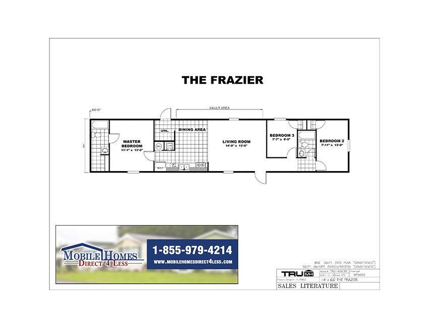 Printable Floor Plan. TruMH   Frazier   Euphoria TRU14663B   3 Bed 2 Bath Mobile Home