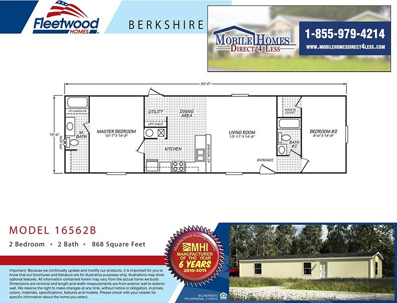 Fleetwood Berkshire 16562B - 2 Bed 2 Bath Mobile Home For Sale on