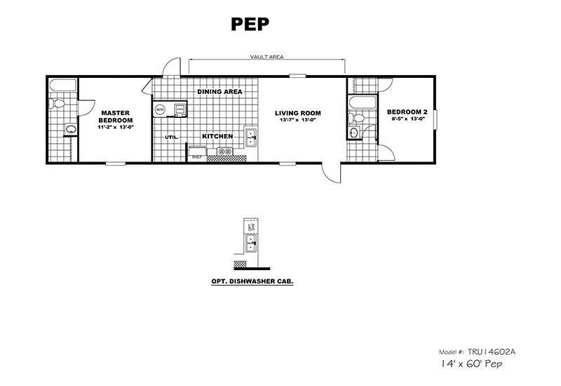 TruMH Pep / Delight Mobile Home Floor Plan