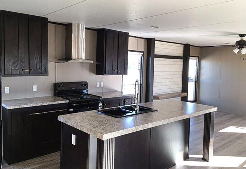 21 big island kitchen with hardwood doors mobile homes