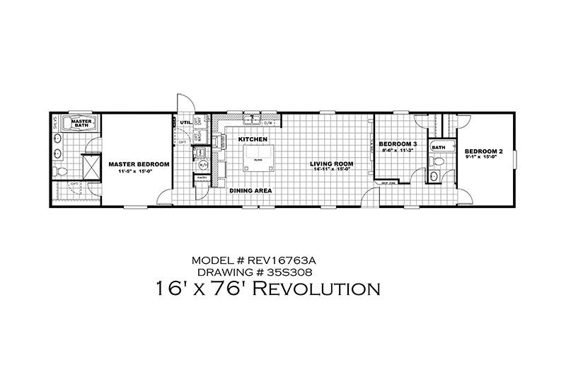 The Revolution REV16763A Mobile Home Branded Floor Plan