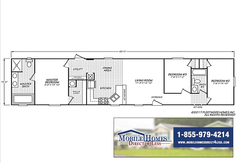 Fleetwood Eagle 16663E Mobile Home Branded Floor Plan