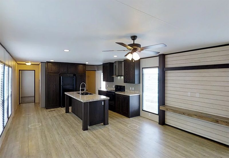 Mini Resolution Mobile Home Exterior Kitchen and Living Room