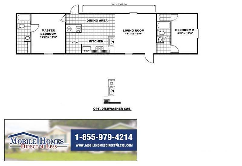 TruMH Delight - TRR14602A 2 Bedroom Mobile Home For Sale on double wide mobile home parts, double wide mobile home accessories, double wide mobile home plumbing diagram, double wide mobile home assembly, double wide mobile home door,