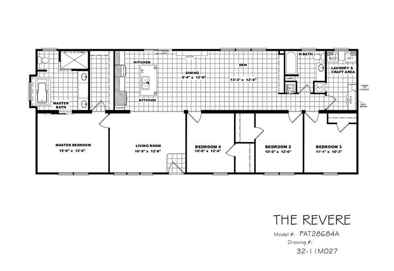 Clayton revere par28684a 4 bedroom 2 bath double wide - Clayton homes terminator 4 bedroom ...